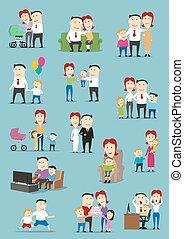 ensemble, famille, gens, bébé, dessin animé, gosse