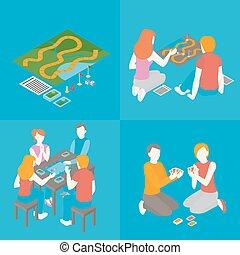 ensemble, famille, gens, intérieur, ensemble., hobby., cartes, isométrique, groupe, filles, field., planche, communicate., adolescents, jeu, couple, temps, jeu garçons, gosses, dépenser, amis, activité, jouer