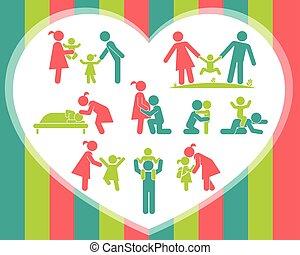 ensemble, famille, icons., heureux