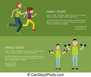 ensemble, famille, lire, bouton, vecteur, poussée, affiches, plus