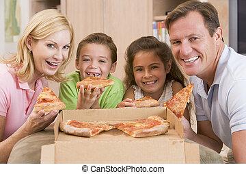 ensemble, famille, pizza, manger
