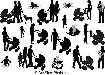 ensemble, famille, silhouettes.