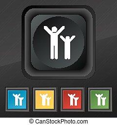ensemble, famille, symbole., texture, coloré, boutons, vecteur, noir, élégant, cinq, heureux, ton, icône, design.