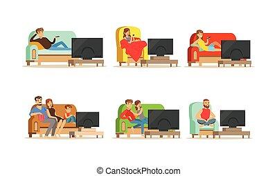 ensemble, fauteuil, gens, illustrations, vecteur, caractères, séance, confortable, télé regarde, divan