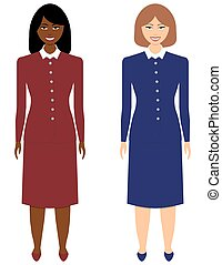 ensemble, femmes affaires