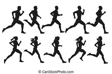 ensemble, femmes, hommes, isolé, courant, vecteur, silhouettes, run.