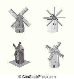 ensemble, ferme, symbole, web., symbole., illustration, vecteur, village, paysage, stockage