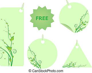 ensemble, feuilles, étiquettes, ornement, vert, tourbillon