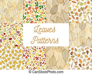 ensemble, feuilles, automnal, seamless, motifs, baissé