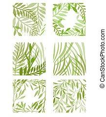ensemble, feuilles, créativité, élément, formes, grass., vecteur, carrée, vert, ton
