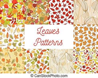 ensemble, feuilles, seamless, automne, motifs, baissé