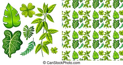 ensemble, feuilles, seamless, isolé, conception, fond