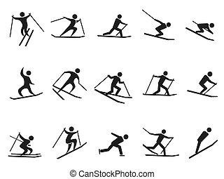 ensemble, figure, icônes, noir, crosse, ski