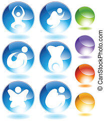 ensemble, figure, zen, cristal, crosse, icône