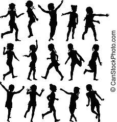 ensemble, filles, silhouettes, courant, sauter, heureux