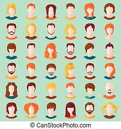 ensemble, filles, vecteur, avatars., élégant, types