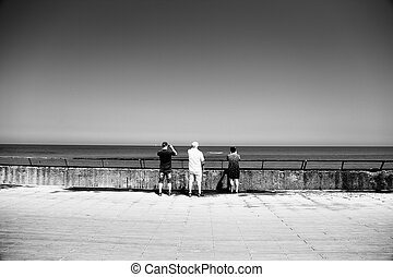ensemble, fils, parents, adulte, personne agee, voyager