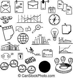 ensemble, finance, affaires médiatiques, vecteur, social, éléments