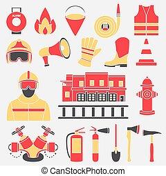 ensemble, firefighting, icônes, illustration, équipement, vecteur