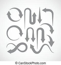 ensemble, flèche, icônes