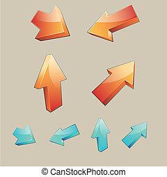 ensemble, flèches, 4, tridimensionnel