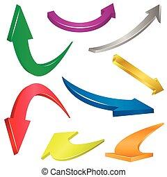 ensemble, flèches, coloré
