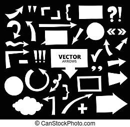 ensemble, flèches, isolé, main, éléments, conception, dessiné, dessin animé