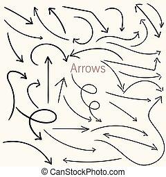 ensemble, flèches, main, vecteur, conception, dessiné