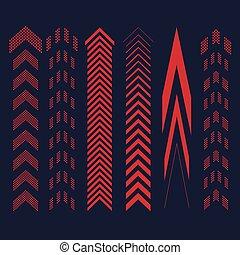 ensemble, flèches, rouges