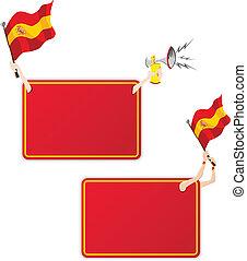 ensemble, flag., cadre, deux, message, sport, espagne