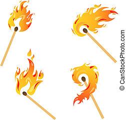 ensemble, flammes