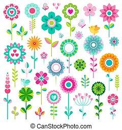 ensemble, fleur, icônes
