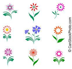 ensemble, fleurs, conception, elements.