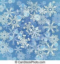 ensemble, flocons neige, collection., shapes., vecteur,...
