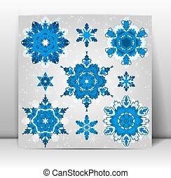 ensemble, flocons neige, eps10., vecteur, design., ton, hiver