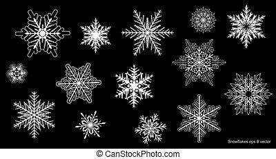 ensemble, flocons neige, hiver