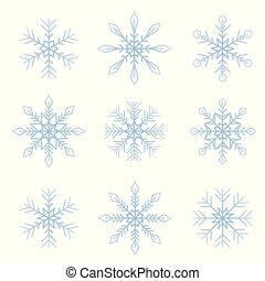 ensemble, flocons neige, isolé, clair, fond, blanc, hiver