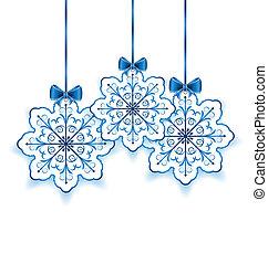 ensemble, flocons neige, -, isolé, illustration, arc, papier, vecteur, fond, noël blanc