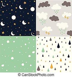 ensemble, flocons neige, lune, étoile, seamless, illustration, vecteur, fond, pluie, modèle, nuage