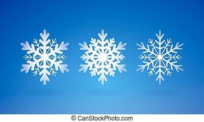 ensemble, flocons, neige