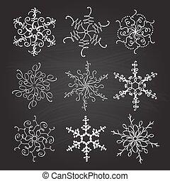 ensemble, flocons neige, vendange, fait main, illustration, calligraphic, arrière-plan., vecteur, neuf, tableau, fleurir, noël