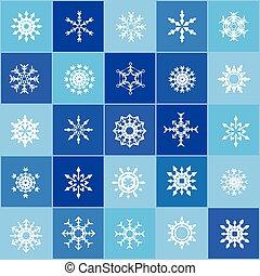 ensemble, flocons, noël, neige