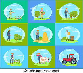 ensemble, fonctionnement, ferme, paysan, outils, dessin animé