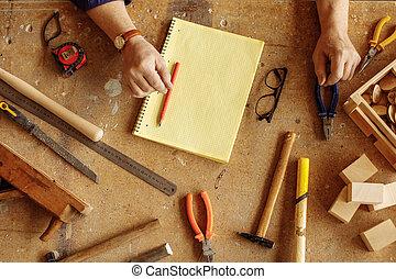 ensemble, fonctionnement, photo, sommet, bois, outils, vue