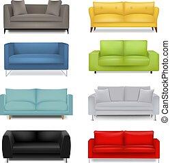 ensemble, fond blanc, sofa, grand, isolé