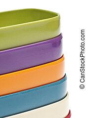 ensemble, fond, coloré, bols, texture