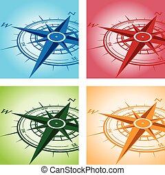 ensemble, fond, compas