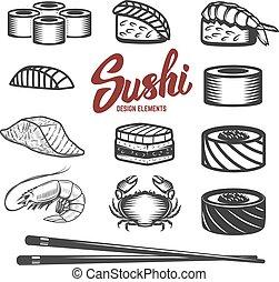 ensemble, fond, icônes, fruits mer, sushi, japonaise, traditio, blanc