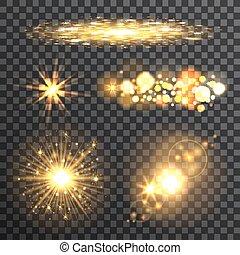 ensemble, fond, or, étoiles, transparent