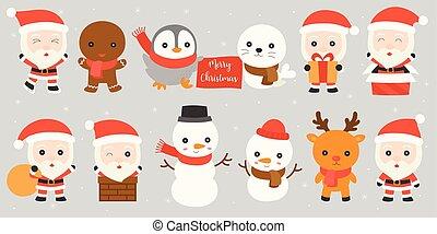 ensemble, fond, renne, gingembre, conception, hiver, manchots, , glace, tenue, homme, plat, claus, cachet, chute neige, santa, tel, amis, présent, pain, boîte, patin, cheminée, bonhomme de neige, jouer